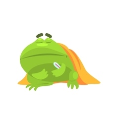 Sick Green Frog Funny Character With Blanket And vector