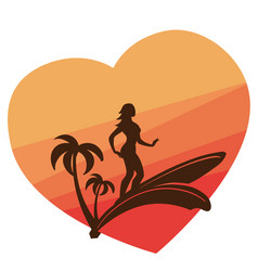 Silhouette of surfing young woman with colorful vector