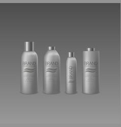 Silver bottle set vector