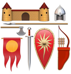 Slavic knight armor icons set 3 vector