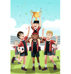 Soccer team winning vector