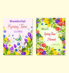 spring flower greeting card with floral background vector image