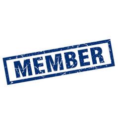 Square grunge blue member stamp vector