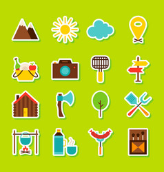 summer camping stickers vector image