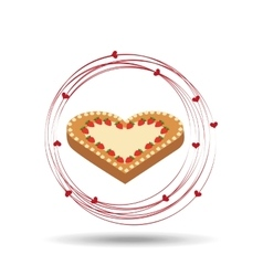 tasty cake heart with strawberry cream vector image