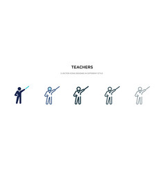 Teachers icon in different style two colored and vector