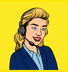 Tech support girl pop art vector