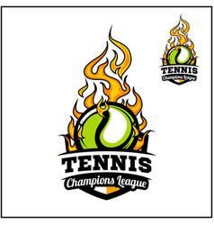 Tennis ball flame badge vector