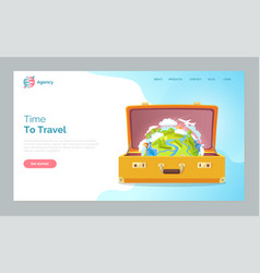 time to travel opened bag with world planet earth vector image