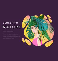 tropical girl banner vector image