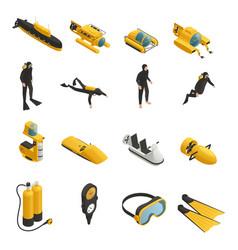 underwater equipment isometric icons set vector image