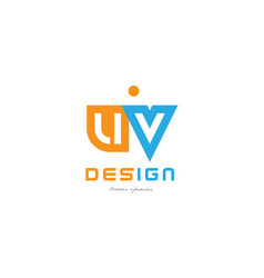 Uv u v orange blue alphabet letter logo vector