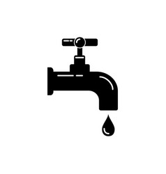 water tap silhouette icon in flat style vector image