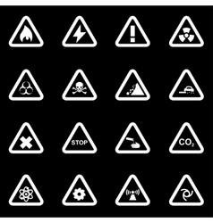 White danger icon set vector
