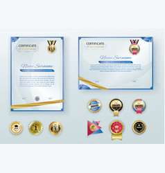 white modern certificates with abstract gold vector image