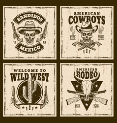 wild west set four brown emblems vector image