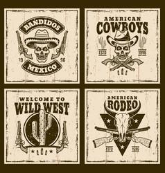 wild west set four brown emblems vector image