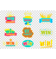 win congratulations logo set colorful sickers vector image