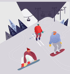 woman and man skiing in mountains people vector image