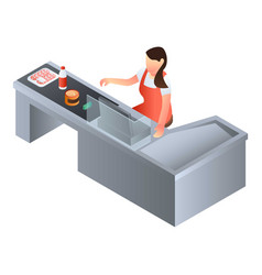 Woman cashier icon isometric style vector