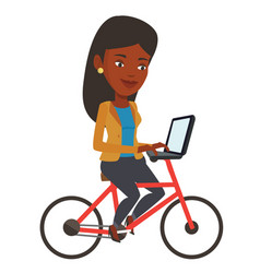 Woman riding bicycle and working on a laptop vector
