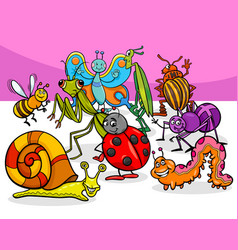cartoon insects and bugs characters group vector image vector image