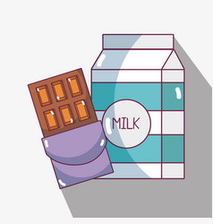 Chocolate bar with milk to habits of nutrition vector