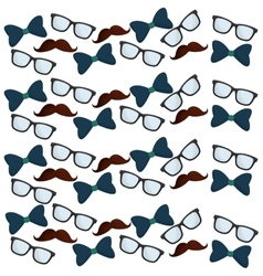 father day collection glasses bow tie mustache vector image