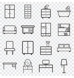 furniture icons set flat on isolated background vector image