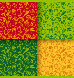 street food seamless patterns vector image vector image