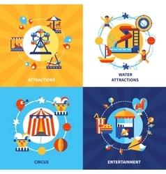 Amusement Park 4 Flat Icons Square vector image vector image