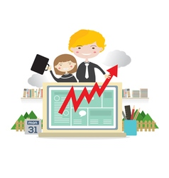 Business People With Raise Graph On Laptop vector image