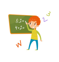 elementary school student standing near the vector image vector image