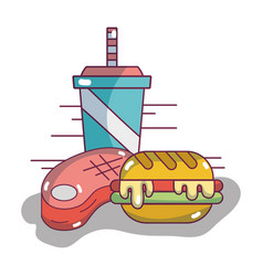 hamburger with soda in the plastic cup and meat vector image vector image