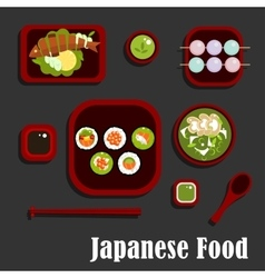 Japanese seafood dishes and dessert vector image