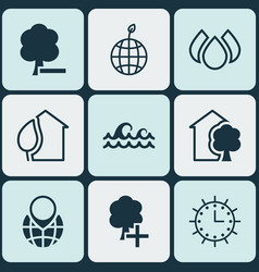 set of 9 eco-friendly icons includes ocean wave vector image vector image