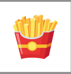 paper pack of french fries street fast food cafe vector image vector image