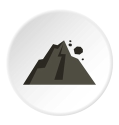 Rockfall in mountains icon flat style vector