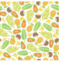 awesome tropical fruits and palm leaves background vector image vector image