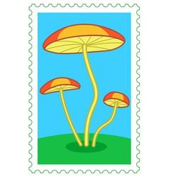 Fungi on stamp vector image