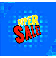 super sale blue background image vector image