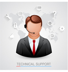 technical support background man with icons vector image