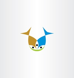 two fish eating icon vector image vector image