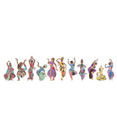 11 indian dancers vector