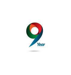 9 year anniversary template design vector