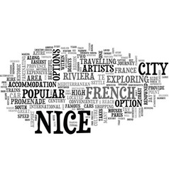 a tourist guide to nice text word cloud concept vector image