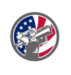 American construction worker usa flag icon vector
