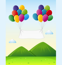 Banner template with colorful balloons in sky vector