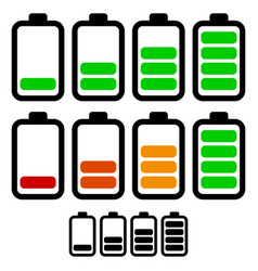 Battery level indicators battery life accumulator vector