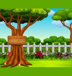 beautiful yard with the board text vector image